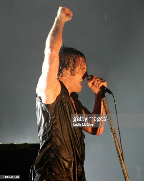 Trent Reznor of Nine Inch Nails during Nine Inch Nails in Concert at the Brixton Academy in London July 14 2005 at Brixton Academy in London Great...
