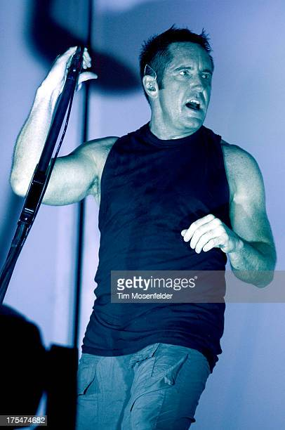 Trent Reznor of Nine Inch Nails performs at Lollapalooza 2013 at Grant Park on August 2 2013 in Chicago Illinois