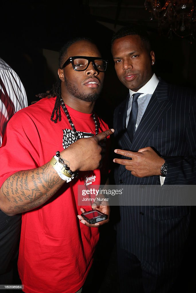 Trent Richardson and AJ Calloway attend the Jay-Z & D'Usse Super Bowl Party at The Republic on February 2, 2013, in New Orleans, Louisiana.