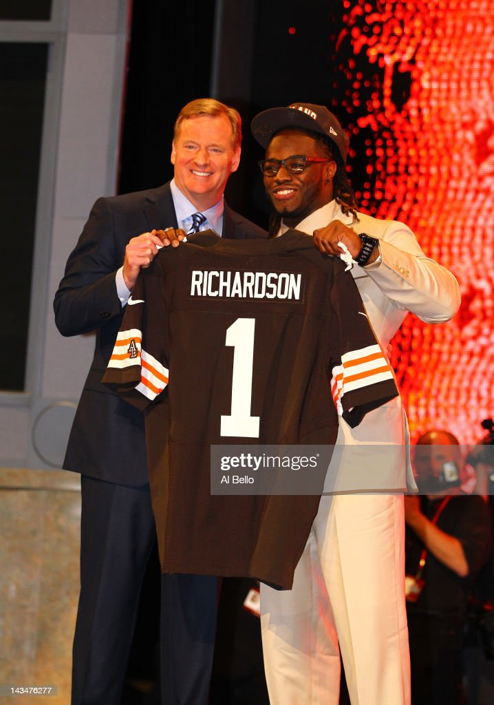 <a gi-track='captionPersonalityLinkClicked' href=/galleries/search?phrase=Trent+Richardson&family=editorial&specificpeople=5653463 ng-click='$event.stopPropagation()'>Trent Richardson</a> (R) from Alabama holds up a jersey as he stands on stage with NFL Commissioner <a gi-track='captionPersonalityLinkClicked' href=/galleries/search?phrase=Roger+Goodell&family=editorial&specificpeople=744758 ng-click='$event.stopPropagation()'>Roger Goodell</a> after he was selected #3 overall by the Cleveland Browns in the first round of the 2012 NFL Draft at Radio City Music Hall on April 26, 2012 in New York City.