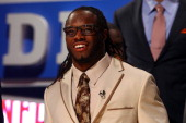 Trent Richardson from the UNiversity of Alabama looks on on stage prior to being pick overall by the Cleveland Browns during the 2012 NFL Draft at...