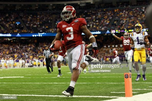 Trent Richardson of the Alabama Crimson Tide celebrates after scoring a touchdown in the fourth quarter against the Louisiana State University Tigers...