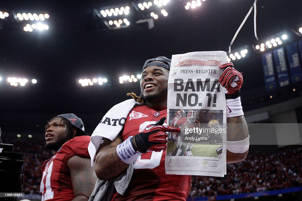 <a gi-track='captionPersonalityLinkClicked' href=/galleries/search?phrase=Trent+Richardson&family=editorial&specificpeople=5653463 ng-click='$event.stopPropagation()'>Trent Richardson</a> #3 of the Alabama Crimson Tide celebrates after defeating Louisiana State University Tigers in the 2012 Allstate BCS National Championship Game at Mercedes-Benz Superdome on January 9, 2012 in New Orleans, Louisiana. Alabama won the game by a score of 21-0.