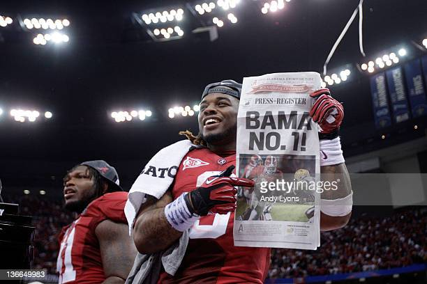 Trent Richardson of the Alabama Crimson Tide celebrates after defeating Louisiana State University Tigers in the 2012 Allstate BCS National...