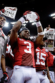 Trent Richardson of the Alabama Crimson Tide celebrates with the trophy after defeating Louisiana State University Tigers in the 2012 Allstate BCS...