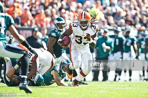 Trent Richardson of the Cleveland Browns runs down field during the third quarter against the Philadelphia Eagles at Cleveland Browns Stadium on...