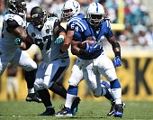 Trent Richardson of the Indianapolis Colts carries the ball against the Jacksonville Jaguars at EverBank Field on September 21 2014 in Jacksonville...