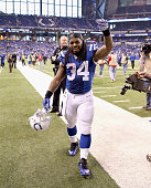 Trent Richardson of the Indianapolis Colts celebrates after the 1710 win over the Houston Texans at Lucas Oil Stadium on December 14 2014 in...