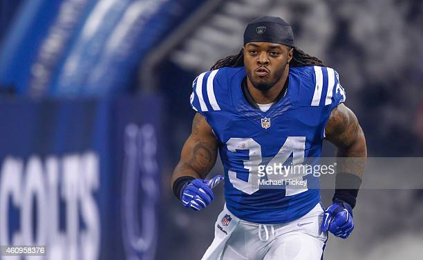 Trent Richardson of the Indianapolis Colts takes the field during player introductions before the game against the Houston Texans at Lucas Oil...
