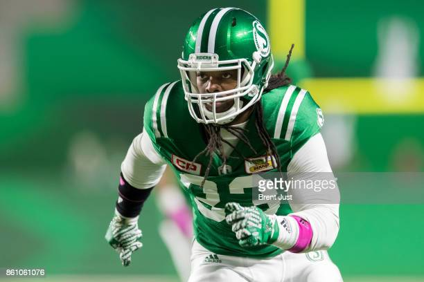 Trent Richardson of the Saskatchewan Roughriders during pregame warmup for the game against the Ottawa Redblacks at Mosaic Stadium on October 13 2017...
