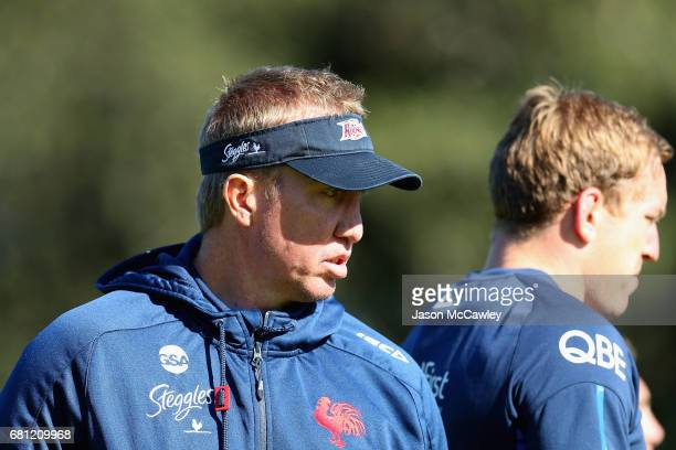 Trent Robinson head coach looks on during a Sydney Roosters NRL training session at Kippax Lake on May 10 2017 in Sydney Australia