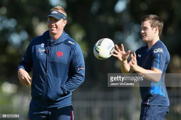 Trent Robinson head coach of the Roosters and Luke Keary during a Sydney Roosters NRL training session at Kippax Lake on May 10 2017 in Sydney...