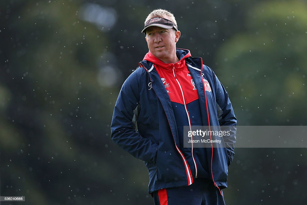 Trent Robinson head coach of the Roosters watches on during a Sydney Roosters NRL training session at Moore Park on June 1, 2016 in Sydney, Australia.