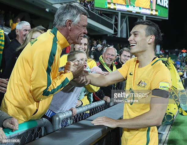 Trent Sainsbury of Australia acknowledges members of the crowd after the 2018 FIFA World Cup Qualifier match between the Australian Socceroos and...