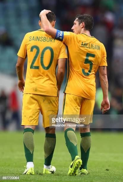 Trent Sainsbury of Australia and Mark Milligan of Australia embrace after the FIFA Confederations Cup Russia 2017 Group B match between Australia and...