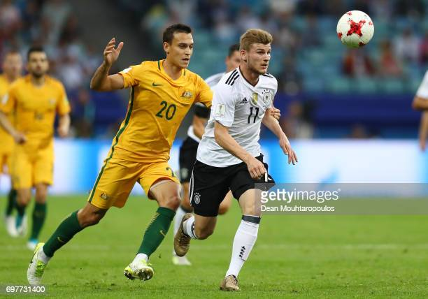 Trent Sainsbury of Australia and Timo Werner of Germany battle for possession during the FIFA Confederations Cup Russia 2017 Group B match between...