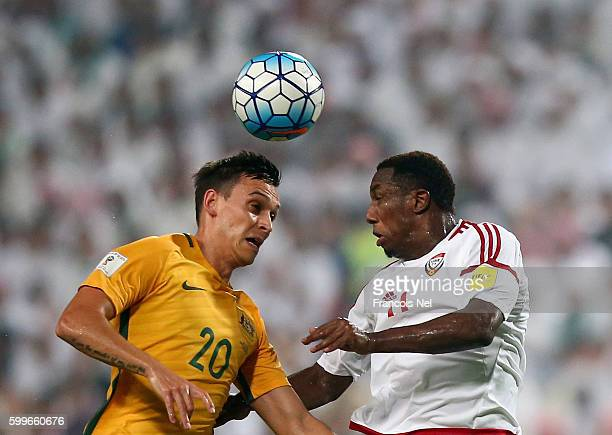 Trent Sainsbury of Australia compete for the ball with Ahmed Khalil of UAE during the 2018 FIFA World Cup Qualifier match between UAE and Australia...