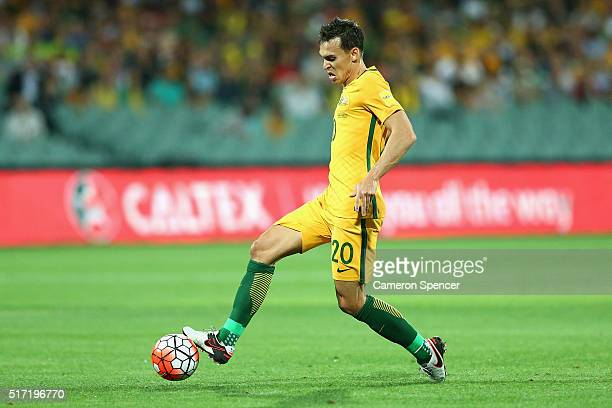 Trent Sainsbury of Australia controls the ball during the 2018 FIFA World Cup Qualification match between the Australia Socceroos and Tajikistan at...