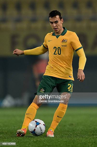 Trent Sainsbury of Australia controls the ball during the International Friendly match between Macedonia and Australia on March 30 2015 in Skopje...