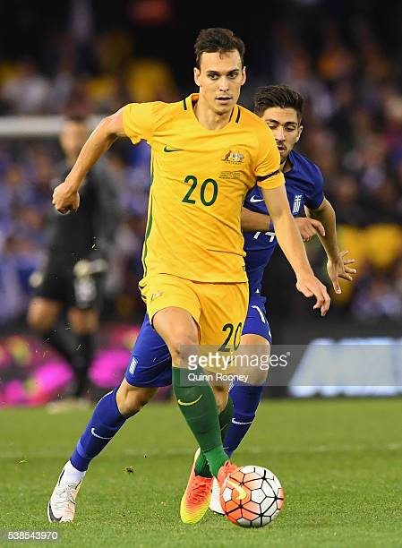 Trent Sainsbury of Australia looks to pass the ball during the International Friendly match between the Australian Socceroos and Greece at Etihad...