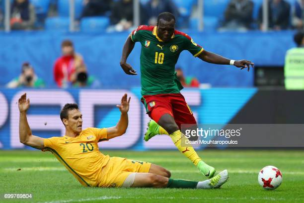 Trent Sainsbury of Australia tackles Vincent Aboubakar of Cameroon during the FIFA Confederations Cup Russia 2017 Group B match between Cameroon and...
