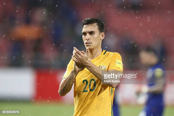 Trent Sainsbury of the Socceroos acknowledges the crowd after the 2018 FIFA World Cup Qualifier match between Thailand and the Australia Socceroos at...
