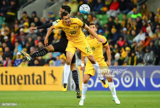 Trent Sainsbury of the Socceroos competes for the ball during the 2018 FIFA World Cup Qualifier match between the Australian Socceroos and Thailand...