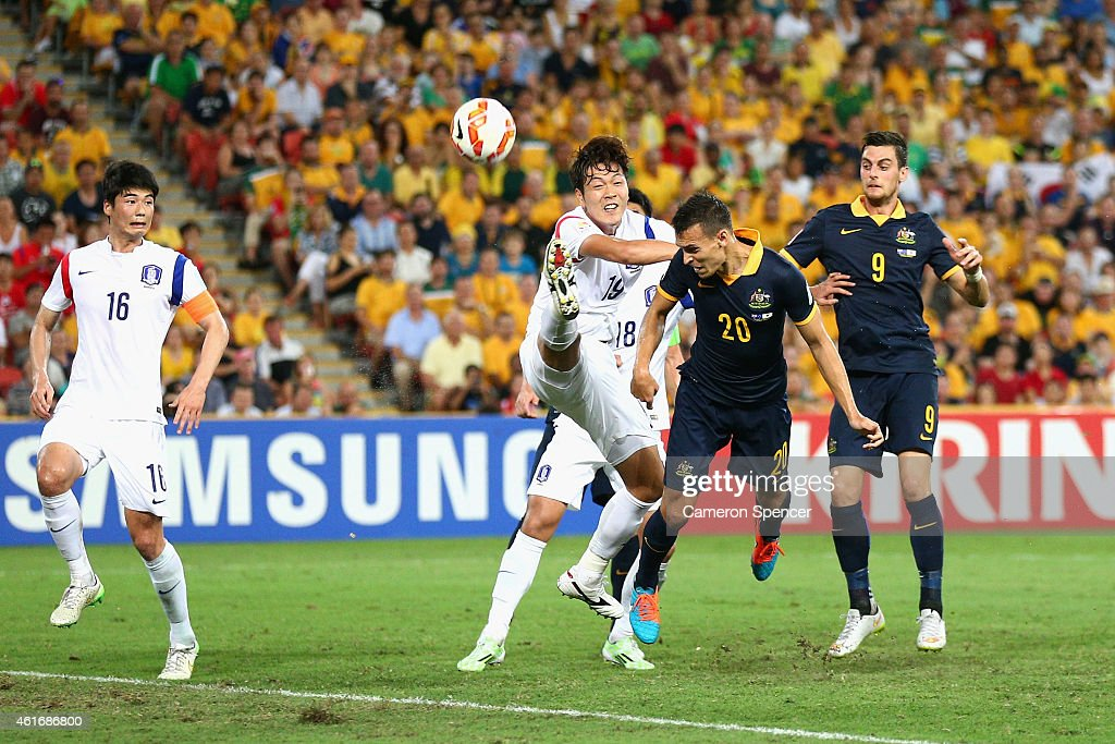 Trent Sainsbury of the Socceroos heads the ball during the 2015 Asian Cup match between Australia and Korea Republic at Suncorp Stadium on January 17, 2015 in Brisbane, Australia.