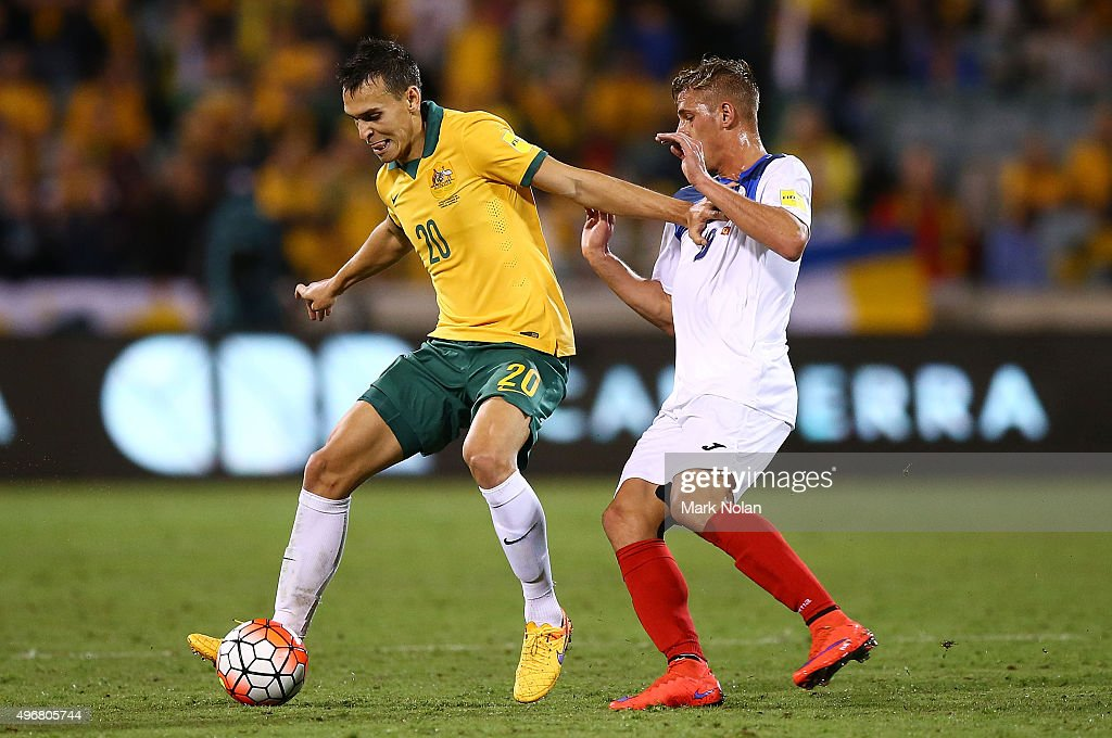 Trent Sainsbury of the Socceroos in action during the 2018 FIFA World Cup Qualification match between the Australian Socceroos and Kyrgyzstan at GIO...