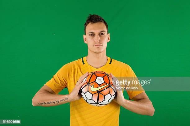 Trent Sainsbury poses for a photograph during a FFA Sponsorship announcement at The Intercontinental Adelaide on March 22 2016 in Adelaide Australia