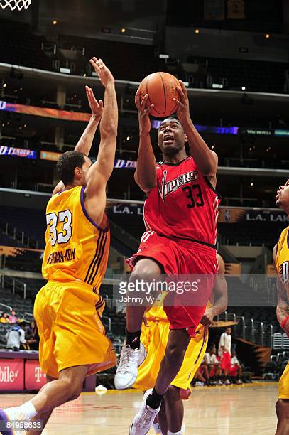 Trent Strickland of the Rio Grande Valley Vipers goes up for a shot Ryan ForehanKelly of the Los Angeles DFenders at Staples Center on February 20...