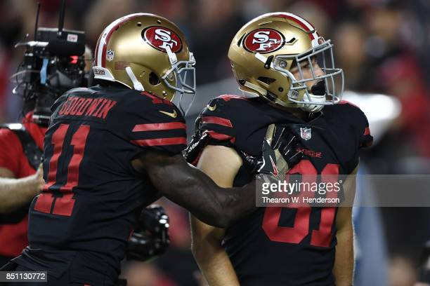Trent Taylor of the San Francisco 49ers celebrates after scoring against the Los Angeles Rams during their NFL game at Levi's Stadium on September 21...