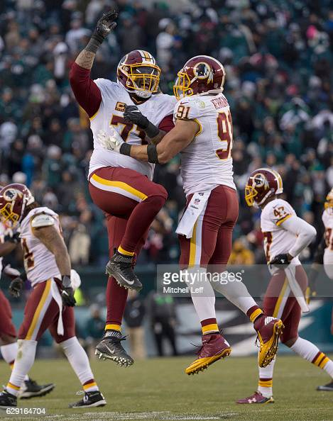 Trent Williams of the Washington Redskins celebrates with Ryan Kerrigan in the final moments of the game against the Philadelphia Eagles at Lincoln...