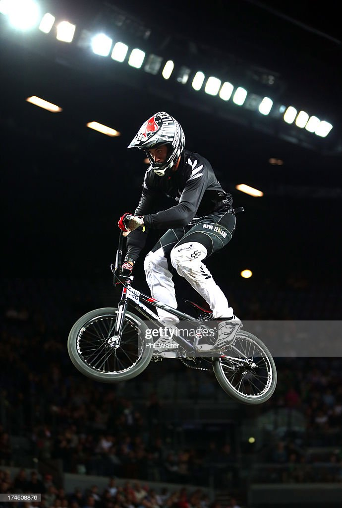 Trent Woodcock of New Zealand competes in the Elite Mens Time Trial during day four of the UCI BMX World Championships at Vector Arena on July 27, 2013 in Auckland, New Zealand.