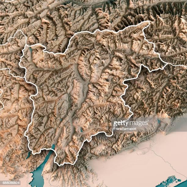 Trentino Alto Adige Regione Autonoma Italien 3D Render topographische Karte Neutral Grenze