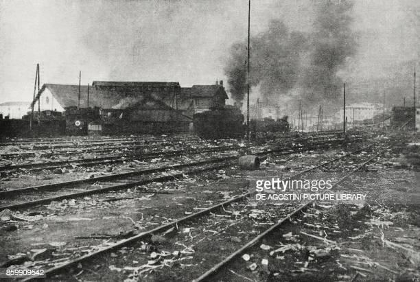 Trento Station abandoned by the Austrians Italy World War I from l'Illustrazione Italiana Year XLV No 46 November 17 1918