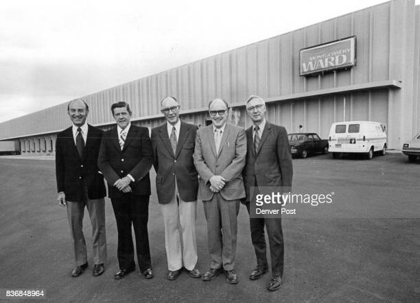 S NEW WAREHOUSE READY FOR DUTY N B Trenton left Denver District manager for Montgomery Ward Co and four other Ward officials stand in front of the...