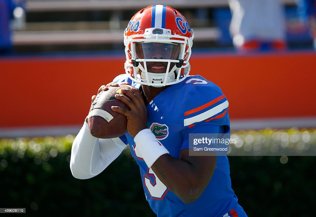 Treon Harris of the Florida Gators warms up before the game against the South Carolina Gamecocks at Ben Hill Griffin Stadium on November 15 2014 in...