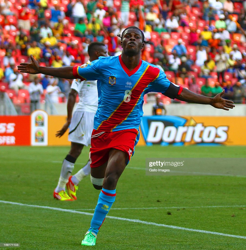 Tresor Mputu Mabi of DR Congo celebrates after scoring a goal during the 2013 African Cup of Nations match between Ghana and Congo DR at Nelson Mandela Bay Stadium on January 20, 2013 in Port Elizabeth, South Africa.