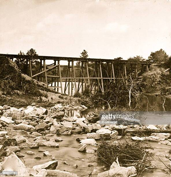Trestle bridge on south side of railroad near Petersburg Virginia April 1865
