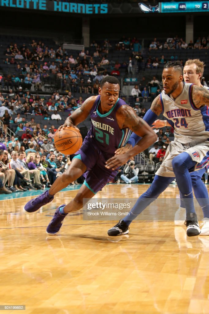 Treveon Graham #21 of the Charlotte Hornets handles the ball against the Detroit Pistons on February 25, 2018 at Spectrum Center in Charlotte, North Carolina.