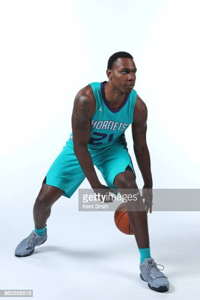 Treveon Graham of the Charlotte Hornets poses for a portrait during media day on September 25 2017 at Spectrum Center in Charlotte North Carolina...