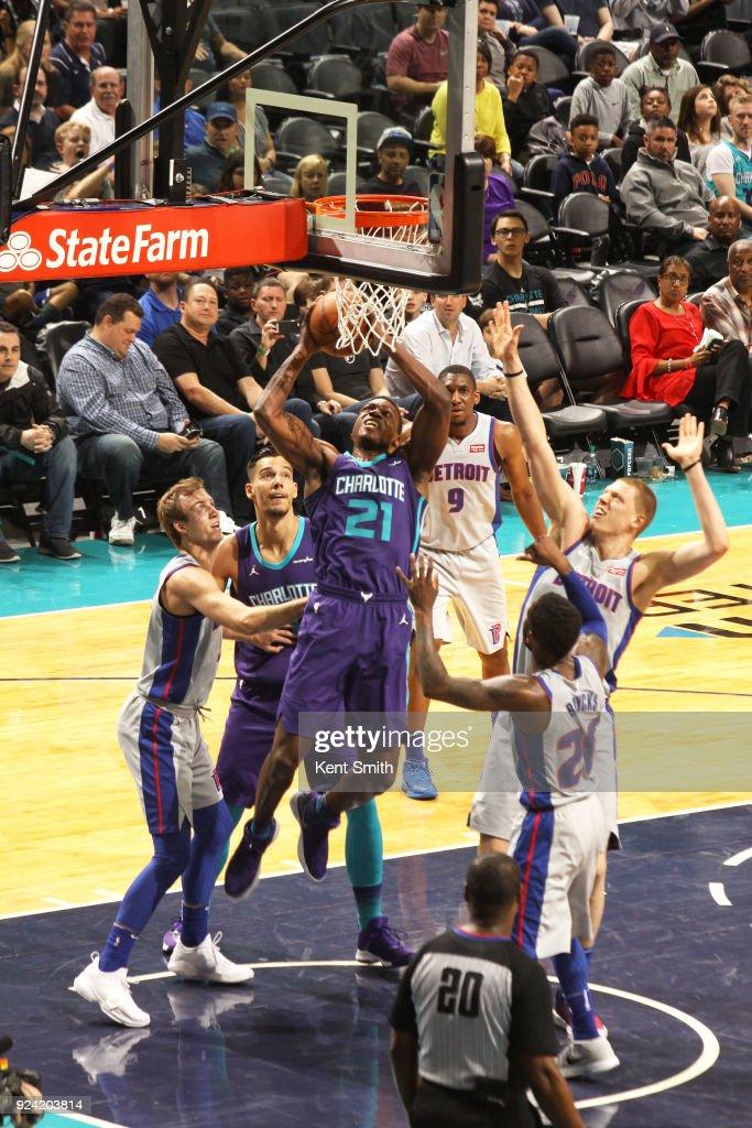 Treveon Graham #21 of the Charlotte Hornets shoots the ball against the Detroit Pistons on February 25, 2017 at Spectrum Center in Charlotte, North Carolina.