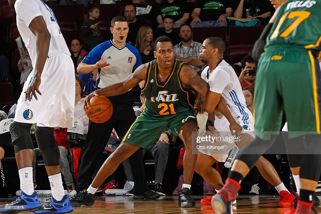 Treveon Graham of the Idaho Stampede dribbles the ball against the Texas Legends at CenturyLink Arena on January 23 2016 in Boise Idaho NOTE TO USER...