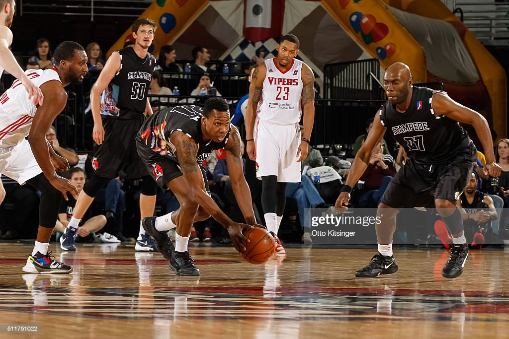 Treveon Graham of the Idaho Stampede grabs a loose ball against the Rio Grande Valley Vipers at CenturyLink Arena on February 20 2016 in Boise Idaho...