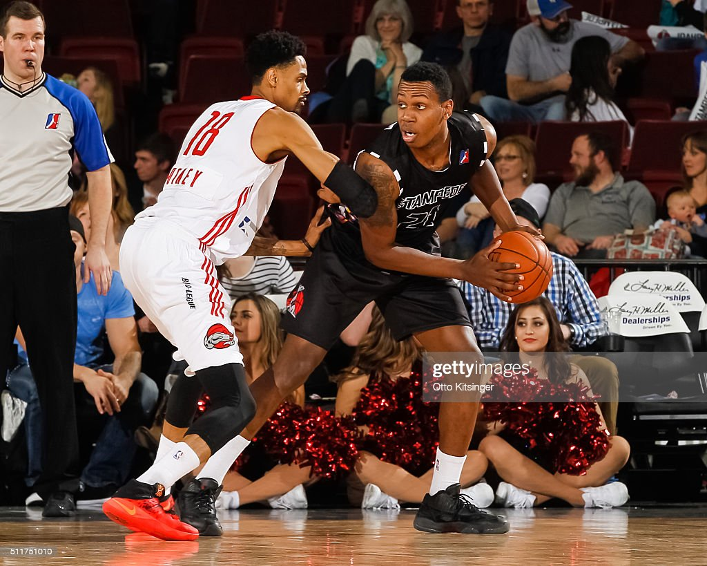 <a gi-track='captionPersonalityLinkClicked' href=/galleries/search?phrase=Treveon+Graham&family=editorial&specificpeople=8702328 ng-click='$event.stopPropagation()'>Treveon Graham</a> #21 of the Idaho Stampede looks to pass the ball against the Rio Grande Valley Vipers at CenturyLink Arena on February 20, 2016 in Boise, Idaho.