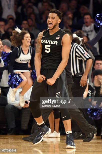 Trevon Bluiett of the Xavier Musketeers celebrates a shot during the Big East Basketball Tournament Quarterfinal game against the Butler Bulldogs at...