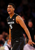 Trevon Bluiett of the Xavier Musketeers celebrates after a shot against the Georgetown Hoyas during a semifinal game of the Big East basketball...