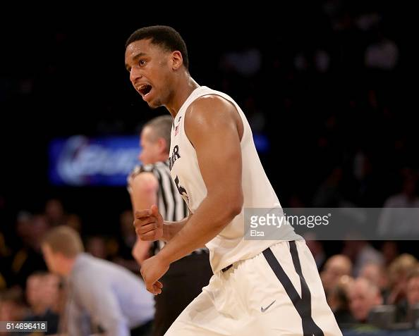 Trevon Bluiett of the Xavier Musketeers celebrates his three point shot in the second half against the Marquette Golden Eagles during the...
