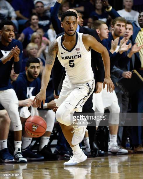 Trevon Bluiett of the Xavier Musketeers drives the ball Arizona State Sun Devils during the championship game of the 2017 Continental Tire Las Vegas...